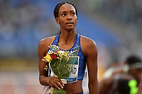 Dalilah Muhammad of United States looks to the results after winning the women's 400m hurdles at the IAAF Diamond League Golden Gala <br /> Roma 06-06-2019 Stadio Olimpico, <br /> Meeting Atletica Leggera <br /> Photo Andrea Staccioli / Insidefoto