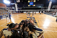 11 September 2011:  FIU's team comes together before the start of the match.  The FIU Golden Panthers defeated the Florida A&M University Rattlers, 3-0 (25-10, 25-23, 26-24), at U.S Century Bank Arena in Miami, Florida.