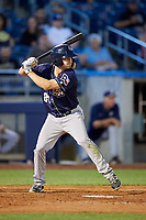 San Antonio Missions center fielder Auston Bousfield (20) at bat during a game against the Tulsa Drillers on June 1, 2017 at ONEOK Field in Tulsa, Oklahoma.  Tulsa defeated San Antonio 5-4 in eleven innings.  (Mike Janes/Four Seam Images)