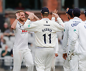 7th September 2017, Emirates Old Trafford, Manchester, England; Specsavers County Championship, Division One; Lancashire versus Essex; Early breakthrough for Essex as Sam Cook of Essex traps Haseeb Hameed of Lancashire lbw for 88