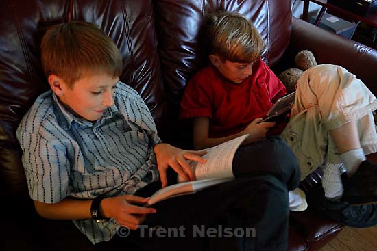 Noah Nelson, Nathaniel Nelson, reading, computer,  playing gameboy<br />