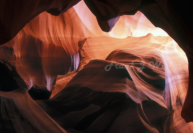 Sculptures of sandstone created by erosion in a cavern in the Antelope slot canyon in Arizona near Lake Powell and Page on the Colorado Plateau