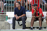 03 July 2012: Atlanta interim head coach Eric Wynalda (left) with assistant coach Jose Gaucho Pinho (BRA) (right). The Carolina RailHawks defeated the Atlanta Silverbacks 2-1 at WakeMed Soccer Stadium in Cary, NC in a 2012 North American Soccer League (NASL) regular season game.