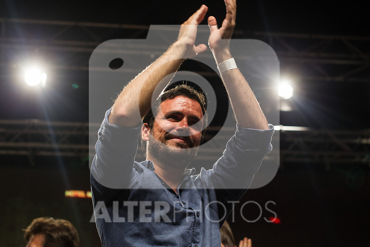 Spanish politician Alberto Garzon of Unidos Podemos party, after the results of the national elections at plaza Reina Sofia, Spain. 26,06,2016. (ALTERPHOTOS/Rodrigo Jimenez)