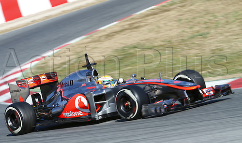 21.02.2012 Barcelona Spain. Formula One testing, day 1.  Vodafone Mclaren Mercedes with English driver Lewis Hamilton