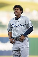 Francisco Lindor (12) of the Columbus Clippers prior to the game against the Charlotte Knights at BB&T BallPark on May 27, 2015 in Charlotte, North Carolina.  The Clippers defeated the Knights 9-3.  (Brian Westerholt/Four Seam Images)