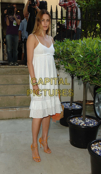 YASMIN LE BON.Launch party for the Tara Smith Hair Products, Hemple Hotel, London, England, UK, .July 15th 2008.full length white dress Summer dress summery orange sandals shoes dyed hair highlights yasmine LeBon .CAP/WIZ.© Wizard/Capital Pictures.