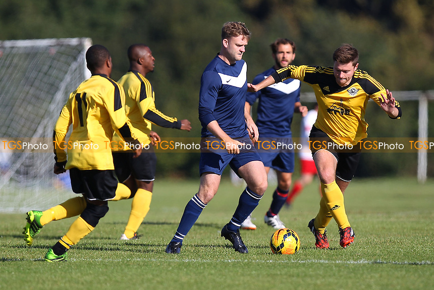 Bocca Albion (blue/white) vs Boroughs United - Hackney & Leyton Sunday League Football at South Marsh, Hackney Marshes, London - 05/10/14 - MANDATORY CREDIT: Gavin Ellis/TGSPHOTO - Self billing applies where appropriate - contact@tgsphoto.co.uk - NO UNPAID USE