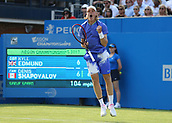 June 19th 2017, Queens Club, West Kensington, London; Aegon Tennis Championships, Day 1; Denis Shapovalov of Canada celebrates after winning the first set during a tie break versus Kyle Edmund of Great Britain
