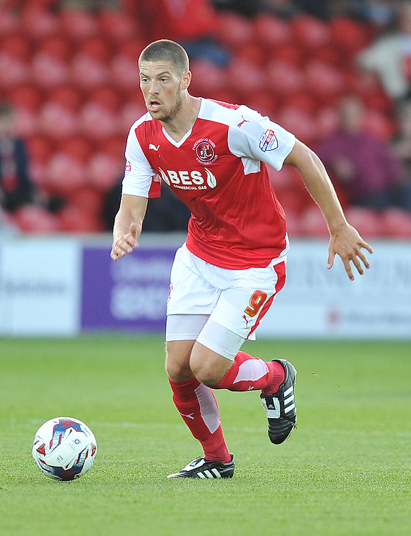 Fleetwood Town's Jamie Proctor on the ball<br /> <br /> Photographer Dave Howarth/CameraSport<br /> <br /> Football - Capital One Cup First Round - Fleetwood Town v Hartlepool United - Tuesday 11th August 2015 - Highbury Stadium - Fleetwood<br />  <br /> &copy; CameraSport - 43 Linden Ave. Countesthorpe. Leicester. England. LE8 5PG - Tel: +44 (0) 116 277 4147 - admin@camerasport.com - www.camerasport.com