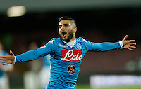Napoli's Lorenzo Insigne celebrates after scoring during the  italian serie a soccer match,between SSC Napoli and Torino      at  the San  Paolo   stadium in Naples  Italy , January 07, 2016