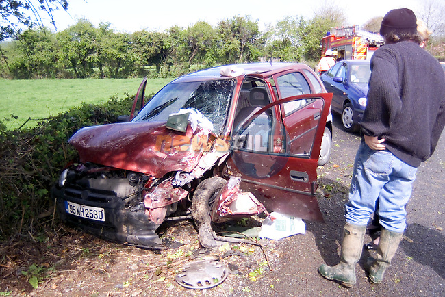 More road carniage , this one car collision on the Duleek to Kilmoon road on sunday afternoon, Th occupants of the car were taken to our lady of Lourdes Hospital in drogheda...Picture Fran Caffrey Newsfile...This Picture is sent to you by:..Newsfile Ltd.The View, Millmount Abbey, Drogheda, Co Louth, Ireland..Tel: +353419871240.Fax: +353419871260.GSM: +353862500958.ISDN: +353419871010.email: pictures@newsfile.ie.www.newsfile.ie