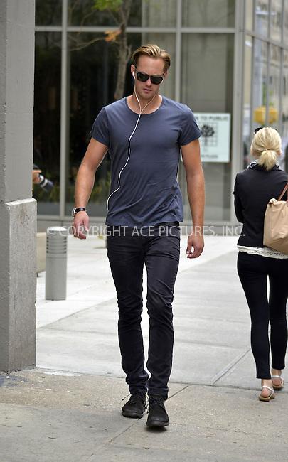 WWW.ACEPIXS.COM<br /> <br /> September 13 2013, New York City<br /> <br /> Actor Alexander Skarsgard walks in Soho on September 13 2013 in New York City<br /> <br /> By Line: Curtis Means/ACE Pictures<br /> <br /> <br /> ACE Pictures, Inc.<br /> tel: 646 769 0430<br /> Email: info@acepixs.com<br /> www.acepixs.com