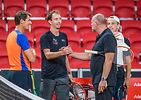 The Hague, The Netherlands, September 11, 2017,  Sportcampus , Davis Cup Netherlands - Chech Republic, training, Captain Paul Haarhuis (L)  Matwe Middelkoop (NED) coach Raymond Knaap and Tallon Griekspoor ltr<br /> <br /> Photo: Tennisimages/Henk Koster
