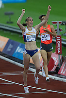 Laura WEIGHTMAN of GBR (Women's 1500m) celebrates her victory during the Sainsburys Anniversary Games Athletics Event at the Olympic Park, London, England on 24 July 2015. Photo by Andy Rowland.