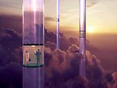 Glass elevators in the sky
