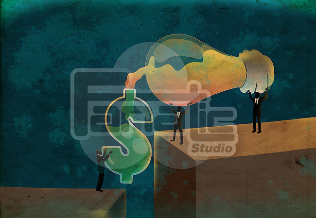 Conceptual shot of business people pouring ideas from light bulb into dollar sign depicting money making