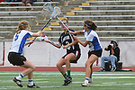 Redondo Beach, CA 05/14/11 - Emily Boone (St Margaret #2) and \unidentified Cate players in action during the 2011 Division 2 US Lacrosse / CIF Southern Section Championship game between Cate School and St Margaret.