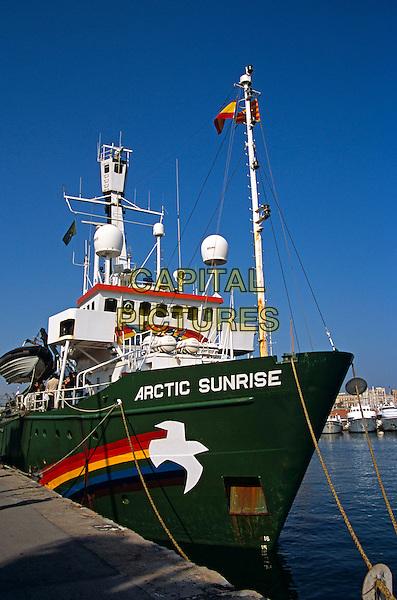 Greenpeace Arctic Sunrise ship, moored in Port Vell, Barcelona, Spain.