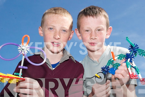K'nex buddies: Thomas Scanlon (11) and Aaron O'Connor (11), both fifth class pupils of Naomh Brid Primary School, Duagh who will compete in the K'nex finals, against a number of Kerry schools, in Tralee on June 12th.