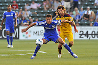 Davy Arnaud (blue),Kyle Beckerman...Kansas City Wizards and Real Salt Lake played to a 1-1 tie at Community America Ballpark, Kansas City, Kansas.