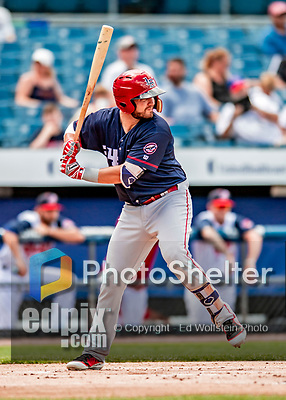22 July 2018: Louisville Bats infielder D.J. Peterson in action against the Syracuse SkyChiefs at NBT Bank Stadium in Syracuse, NY. The Bats defeated the Chiefs 3-1 in AAA International League play. Mandatory Credit: Ed Wolfstein Photo *** RAW (NEF) Image File Available ***