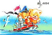 Interlitho-Fabrizio, Comics, CUTE ANIMALS, LUSTIGE TIERE, ANIMALITOS DIVERTIDOS, paintings+++++,bears, boat,KL4604,#ac#, EVERYDAY ,sticker,stickers ,unicorn,unicorns
