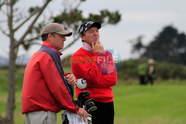 Des Smyth contemplates his 3rd shot on the 18th hole during Day 3 of the 100th Irish PGA championship at Seapoint Golf Club, Co Louth...Picture Eoin Clarke/www.golffile.ie.