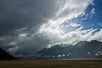 Storm over mountains and Tasman valley, Mount Cook national park, New Zealand