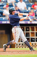 Brandon Hicks #14 of the Gwinnett Braves takes his swings against the Durham Bulls at Durham Bulls Athletic Park on July 27, 2011 in Durham, North Carolina.  The Bulls defeated the Braves 4-0.   (Brian Westerholt / Four Seam Images)