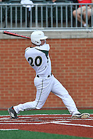 Catcher Nick Daddio (20) of the Charlotte 49ers bats in a game against the Fairfield Stags on Saturday, March 12, 2016, at Hayes Stadium in Charlotte, North Carolina. (Tom Priddy/Four Seam Images)