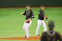 (L to R) <br /> Hayato Sakamoto, <br /> Kenta Imamiya (JPN), <br /> NOVEMBER 14, 2014 - Baseball : <br /> 2014 All Star Series Game 2 <br /> between Japan and MLB All Stars <br /> at Tokyo Dome in Tokyo, Japan. <br /> (Photo by YUTAKA/AFLO SPORT)[1040]