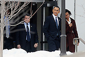 United States President Barack Obama and First Lady Michelle Obama leave the Bethesda campus of Sidwell Friends School, Wednesday, February 17, 2010 in Bethesda, Maryland. They were at the school to attend a parents-teachers meeting for their daughter Sasha..Credit: Olivier Douliery / Pool via CNP