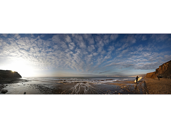 Surfing panorama at Compton Bay, Isle of Wight, England