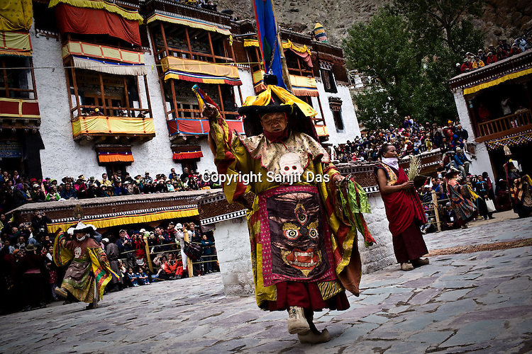 """Dancers perform at the Hemis Monastery (gompa) of the Drukpa Lineage, located in Hemis, 45 kms away from Leh in Ladakh. ..His Holiness the Twelfth Gyalwang Drukpa, the head of the Drukpa Lineage (proponents of the Mahayana Buddhist tradition) ended his """"Walking On The World's Rooftop"""" Pad Yatra from Manali to Hemis Monestary in Ladakh."""