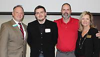 NWA Democrat-Gazette/CARIN SCHOPPMEYER Joe Spivey (from left), Connor Lockaby, Chris Huggard and Annetta Tirey gather at the NWACC luncheon.