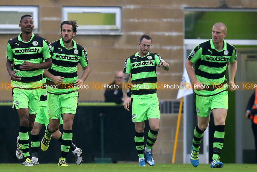 Rhys Murphy of Forest Green Rovers is congratulated after scoring the opening goal during Forest Green Rovers vs Dagenham & Redbridge, Vanarama National League Football at The New Lawn on 29th October 2016