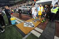 Pictured: Ashley Williams and Tim Howard lead their teams as they come out of the tunnel. Tuesday 23 September 2014<br />