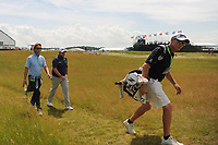Caddie Dermot Byrne, Shane Lowry (IRL) and coach Neil Menchip make their way down 11 during the Wednesday practice day of the 117th U.S. Open, at Erin Hills, Erin, Wisconsin. 6/14/2017.<br /> Picture: Golffile | Ken Murray<br /> <br /> <br /> All photo usage must carry mandatory copyright credit (&copy; Golffile | Ken Murray)