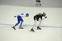 OLYMPIC GAMES: PYEONGCHANG: 09-02-2018, Gangneung Oval, Training session, Mika Poutala (FIN), Shani Davis (USA), ©photo Martin de Jong