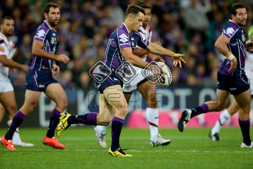 Cooper Cronk (Melb)<br /> NZ Warriors vs Melbourne Storm<br /> ANZAC day clash - AAMI Park<br /> Rugby League - 2014 NRL <br /> Melbourne AUS Friday 25 April  2014<br /> &copy; Sport the library / Jeff Crow