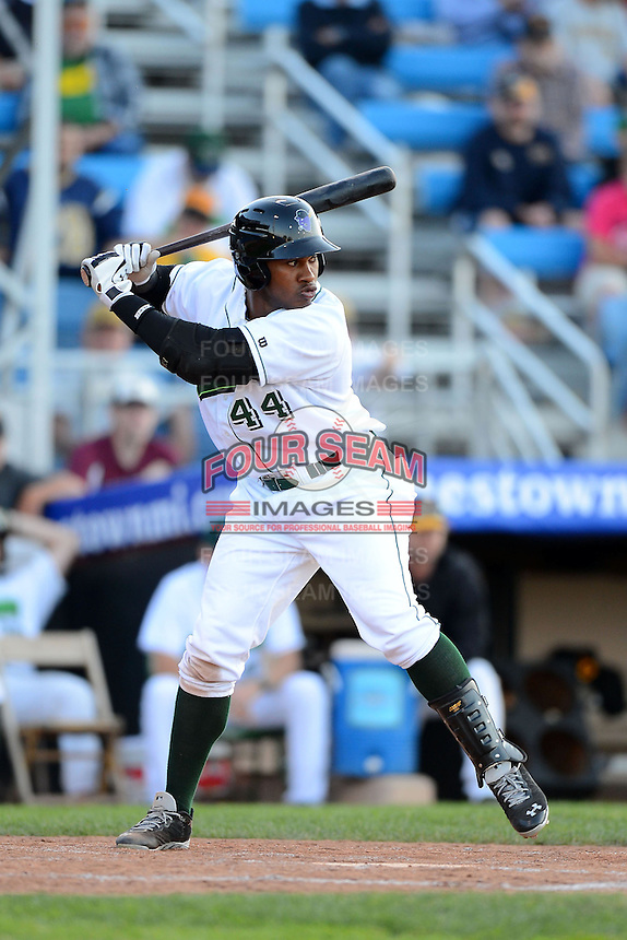 Jamestown Jammers outfielder Jesus Vasquez #44 during a game against the Williamsport Crosscutters on June 20, 2013 at Russell Diethrick Park in Jamestown, New York.  Jamestown defeated Williamsport 12-6.  (Mike Janes/Four Seam Images)