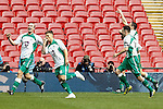 LONDON, ENGLAND - MARCH 29: Ryan Kenda of North Ferriby United (2nd left) celebrates scoring his team's second goal against Wrexham to make it 2-2 during the FA Carlsberg Trophy Final 2015 at Wembley Stadium on March 29, 2015 in London, England. (Photo by David Horn/EAP)