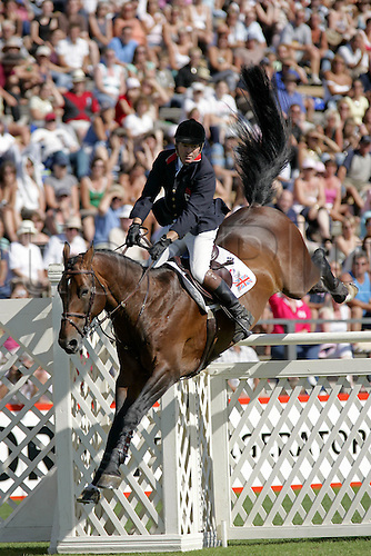 30 July 2006: British rider John Whitaker rides PEPPERMILL to sixth place in The Longines King George V Gold Cup during the fifth day of The Longines Royal International Horse Show, Hickstead England. Photo: Glyn Kirk/Actionplus....060730 man men male showjump showjumping .