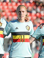 20171024 - PENAFIEL , PORTUGAL :  Belgian Janice Cayman pictured during a women's soccer game between Portugal and the Belgian Red Flames , on tuesday 24 October 2017 at Estádio Municipal 25 de Abril in Penafiel. This is the third game for the  Red Flames during the Worldcup 2019 France qualification in group 6. PHOTO SPORTPIX.BE | DAVID CATRY