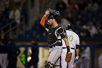 Salem-Keizer Volcanoes catcher Joey Bart (46) during a Northwest League game against the Hillsboro Hops at Ron Tonkin Field on September 1, 2018 in Hillsboro, Oregon. The Salem-Keizer Volcanoes defeated the Hillsboro Hops by a score of 3-1. (Zachary Lucy/Four Seam Images)