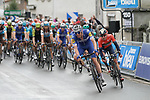 Tim Declercq (BEL) Deceuninck-Quick Step leads the peloton in the chase of the breakaway with 30km to go during Stage 1 of the Criterium du Dauphine 2019, running 142km from Aurillac to Jussac, France. 9th June 2019<br /> Picture: Colin Flockton | Cyclefile<br /> All photos usage must carry mandatory copyright credit (© Cyclefile | Colin Flockton)