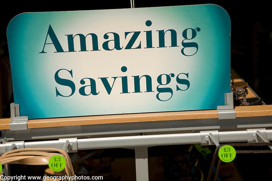 Amazing Savings shop sign