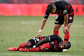 9th February 2019, Spotless Stadium, Sydney, Australia; A League football, Western Sydney Wanderers versus Central Coast Mariners; Roly Bonevacia of the Western Sydney Wanderers lies injured as Jaushua Sotirio attends
