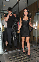 NON EXCLUSIVE PICTURE: MATRIXPICTURES.CO.UK.PLEASE CREDIT ALL USES..WORLD RIGHTS..Canadian actress Jessica Lowndes and her new boyfriend, Scottish former rugby player Thom Evans, are pictured leaving London's Roka Restaurant...MAY 22nd 2013..REF: LTN 133484